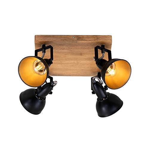 Briloner Leuchten - Spotleuchte, Deckenspot retro, Deckenleuchte vintage, Spots dreh- und schwenkbar, 4x E14, max. 25 Watt, Metall-Holz, Schwarz-Gold, 280x280x157mm (LxBxA)