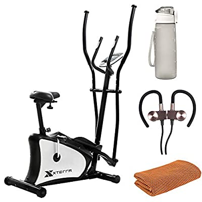 XTERRA Fitness 115026 EU150 Hybrid Elliptical Upright Exercise Bike Bundle with 32oz Leakproof BPA Free Water Bottle, Deco Gear Workout Cooling Towel and Magnetic Wireless Sport Earbuds Gunmetal Grey