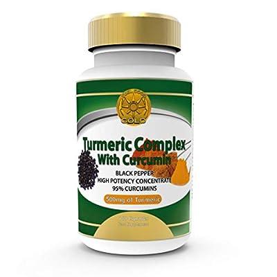 FeelGoodGold Turmeric Curcumin and Bioperine Black Pepper 1500 95% Curcuminoids High Potency Strength 180 Veg Capsules