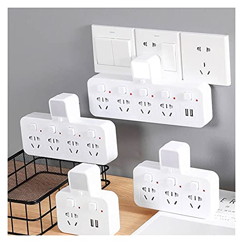 Toma portátil Travel Office Office Office Socket con convertidor de Placa de alimentación de luz Nocturna, 2 Puertos USB Interruptor Independiente 1 2 3 4C Socket (Color : 2 AC Outlet)