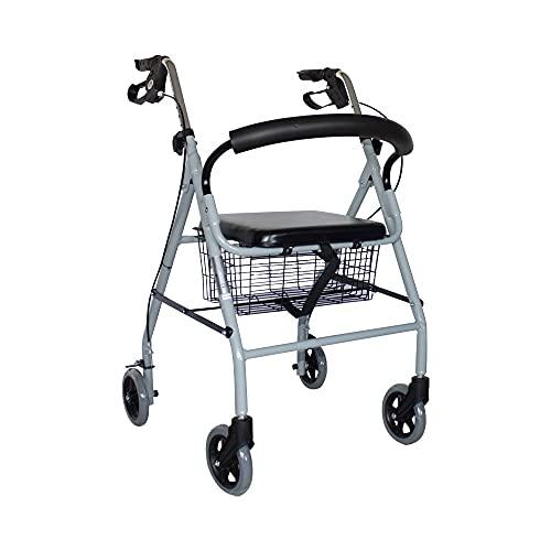 Mobiclinic, Modelo Alhambra, Rollator de 4 ruedas, Andador para minusválidos, mayores, adultos o ancianos, ayuda para caminar, aluminio, ligero, plegable, con asiento y 4 ruedas, gris