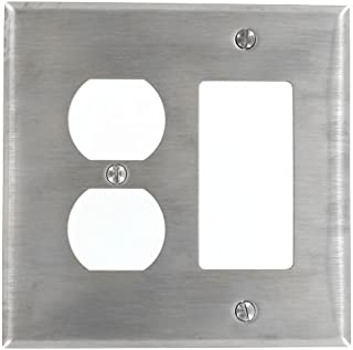 Leviton SJ826-40 2-Gang, Decora, 1-Duplex Receptacle Stainless Steel, Midway Size Wallplate, Stainless Steel
