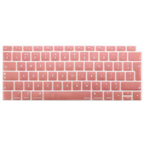 MOSISO Protection Clavier Compatible avec MacBook Air 13 Pouces 2019 2018 A1932 avec Affichage Retina & Touch ID, Imperméable/Antipoussière Silicone Protection Clavier, Or Rose