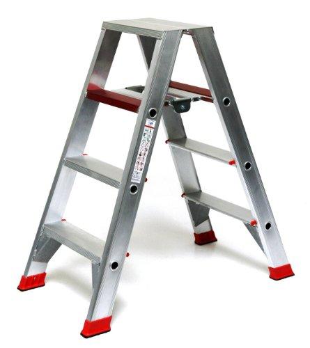 Alu-Profi-Doppelleiter 2x4 Stufen/Sprossen, 113x54x23cm, Aluminium, Marke: Szagato (Stehleiter, Anlegeleiter, Aluleiter, Kombileiter, Leiter)