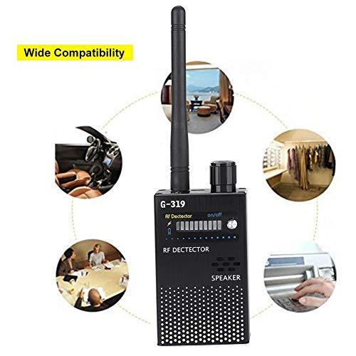 ASHATA Detector de Señal RF Portátil,Finder Tracker 1MHz - 8GHz,Escáner Anti Escucha para GPS/Cámara Espía Inalámbrica 1.2G y 2.4G/Fuentes de Radiación,etc.(Sensibilidad de Detección Ajustable
