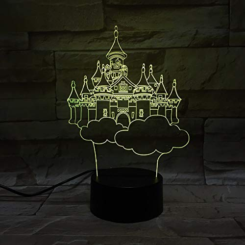 Girl Amazing Dreamlike Castle Purple 3D LED Night Light USB Table Lamp Kids birthday Gift Bedside home decoration