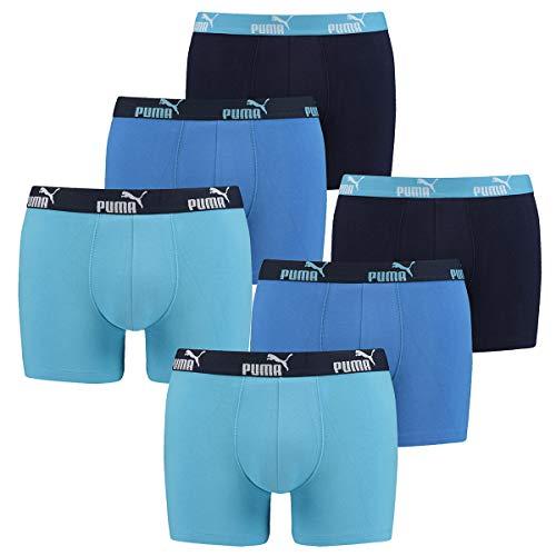 PUMA 6 er Pack Boxer Boxershorts Herren Unterwäsche sportliche Retro Pants, Farbe:101 - Blue Combo, Bekleidungsgröße:L