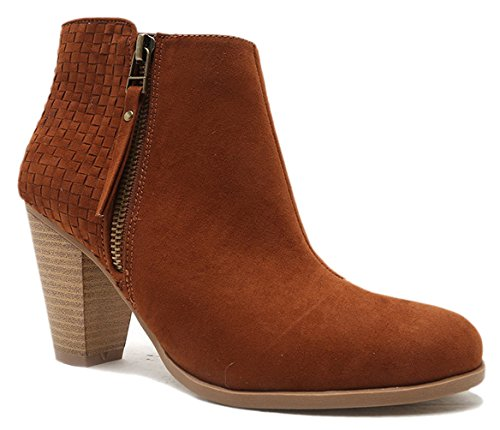 Giovani Donne Women Cut Out Bootie Lace Up Slip On High Heel Platform Wedge Ankle Bootie - Dark Rust/8.5