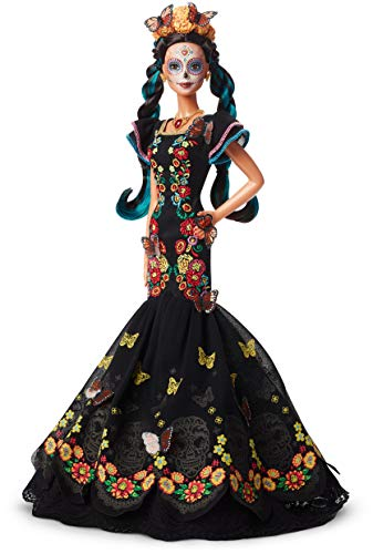 Barbie Collector: Dia De Muertos Doll, 11.5-Inch, Brunette, Wearing Embroidered Dress, Flower Crown & Skull Makeup with Doll Stand and Certificate of Authenticity