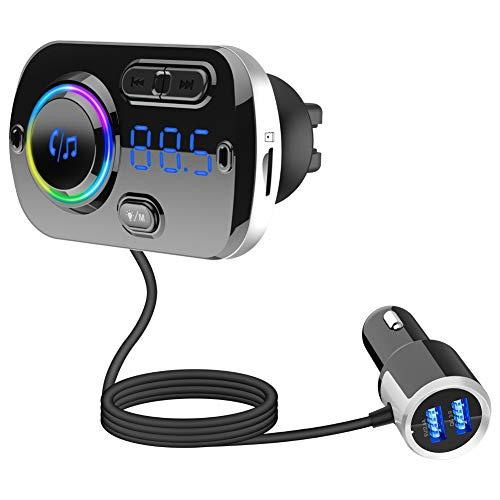 Transmisor FM de coche Bluetooth, 5.0USB adaptador de radio inalámbrica, 7-Color de respiración Ambiente de la lámpara, disco flash USB de la ayuda, manos libres para el coche
