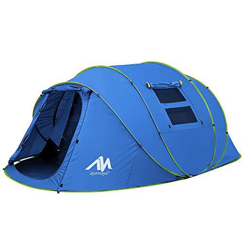 Zelt 4-6 Personen Wasserdicht, Pop up Zelte Familienzelt [5 Fenster] Riesiges Camping Zelt Doppelwandig Wurfzelt Shelter 6-Mann Zelt mit Vorraum für Outdoor Sport Picknick Wandern Reisen Strand (Blau)