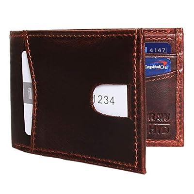 Slim Bi-fold Wallet w/ Minimalist Front Pocket - Genuine Leather Wallets for Men