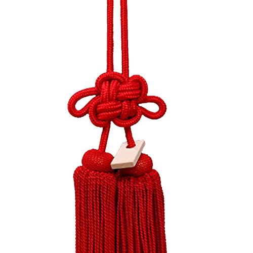 JIYXGS Colgante de espejo retrovisor de coche con colgante de nudo chino, cuerda de oro y plata, nudo de crisantemo, que significa seguridad y buena suerte (color: rojo, tamaño: 17 cm)
