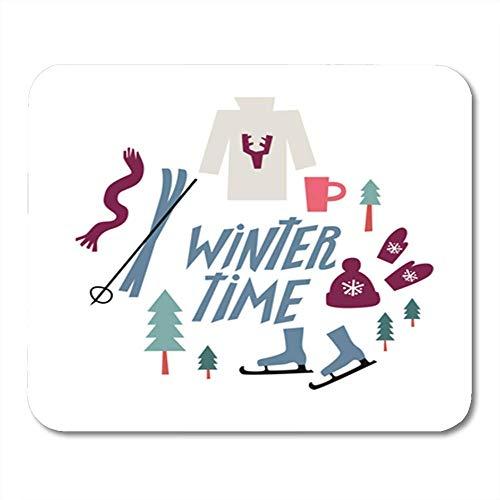Gummiunterseite Mausmatte,Pad Maus Unterlage,Gaming Mausepad,30X25Cm,Winter-Beschriftung Und Symbol-Handschuh-Hut-Rochen-Weihnachtsbaum-Strickjacke Des Heißen Büroartikels, Nichtlippengummi Mousepad