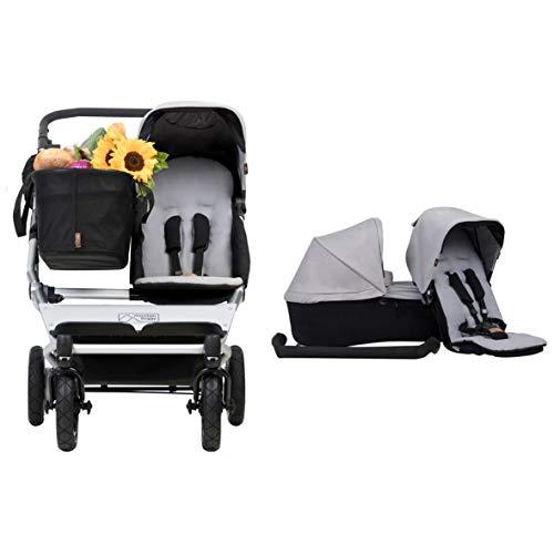 Mountain Buggy Duet V3 as a single + Familienpaket, Duet mit einem Sitz und einem Einkaufskorb (Joey) + Stoffset für die Babytragetasche (carrycot), zweiten Sitz und einen Haltebügel - Farbe: silber