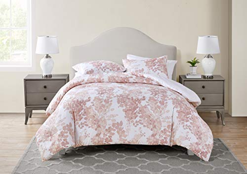Tahari Home | Sofia Bedding Collection | Luxury Ultra Soft Comforter, All Season Premium 3 Piece Set, Modern Delicate Floral Print, Designed for Home Hotel Décor, King, Rose