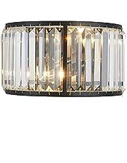 Moderne Applque kristallen lamp, wandlamp, nachtkastje, kleur: zwart, verlichting, Art Deco, metaal, bar, loft, binnenverlichting, hal, woonkamer, eetkamer, slaapkamer, hotel, restaurant, hal, balkon, E14 x 2, 31 x 18 cm