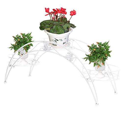Elegante Arch Design Eisen Pflanzenständer / Blumentöpfe Regal / dekorative Blumenkasten Stand Blumenhocker Regal (Weiß)