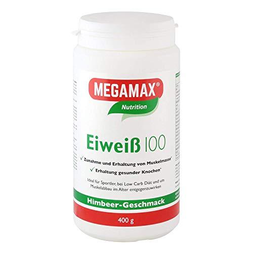 Megamax Eiweiss Himbeere 400 g | Molkenprotein + Milcheiweiß Für Muskelaufbau ,Diaet | 2k-Eiweiss ideal zum Backen | hochwertiges Low Carb Eiweiß-Shake | aspartamfrei Eiweiß-pulver mit Aminosäure