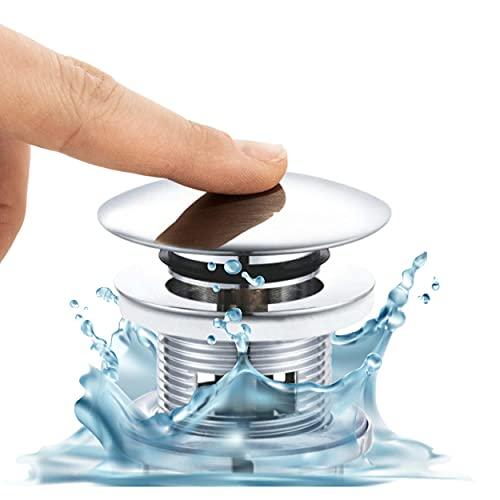 VILSTEIN Universal Ablaufventil Waschbecken, Pop Up Ventil mit Überlauf, Niedrige Bauhöhe, Hohe Lebensdauer, Chrom