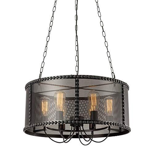 Retro Wheel - Lámpara de techo negra, vintage, lámpara colgante redonda de metal antiguo, lámpara de diseño Bar Cafe Loft, pantalla de hierro E27 Luces de techo para sala de estar Dormitorio Ø36CM