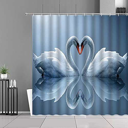 XCBN Lakes White Swan Heart Duschvorhang Liebhaber Badezimmer Dekor wasserdichte Gardinen Bad Display Wandbehang Tuch A2 90x180cm