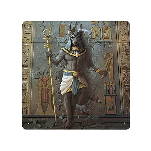DECISAIYA Carteles de Metal Egipto Anubis Rey de la cultura egipcia Placa de la Pared Póster Idea de Regalo para Garage,Taller,Casa o Bar,Diseño Vintage Decorativo 30x30cm