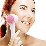 auvstar Cepillo de limpieza facial, Cepillo para lavar la cara, para limpieza profunda exfoliación manual ultrasuave de los poros de masaje para todos los tipos de piel (Rosa)