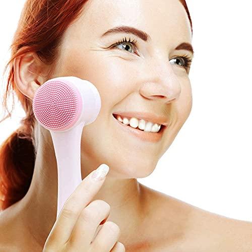 auvstar Spazzola la pulizia viso, Pennello per la pulizia del viso manuale, Massaggio pori detergente, Esfoliante delicato, Rimozione dei comedoni, Adatto a tutti i tipi di pelle (rose)