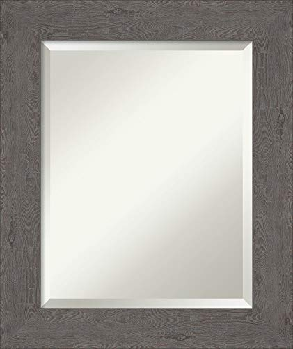 Framed Vanity Mirror   Bathroom Mirrors for Wall   Rustic Plank Grey -