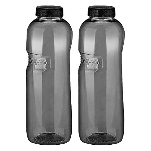 2 x Tritan Trinkflasche 1,0L Kavodrink Wasserflasche schwarz Sportflasche BPA frei Flasche 1000ml