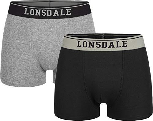 Lonsdale Mens Oxfordshire Boxer Shorts, Grey/Black, XXL
