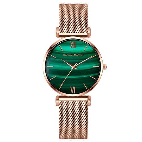 Allskid Damen Uhren Luxus Grün Malachit Textur Zifferblatt Rostfreier Stahl Mesh Uhrenarmband Quarz Elegant Frau Armbanduhren (36mm, A-Rose Gold)