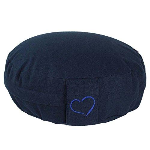 maylow - Yoga mit Herz ® Meditationskissen - Yogakissen Dinkelspelz Premium Sitzkissen für Yoga Meditation 100% Baumwolle waschbar - (blau mit Herz...