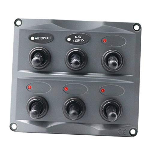 SDENSHI Auto Boot Marine Kippschalter Black Panel Electric 6 Marcha LED ON Off