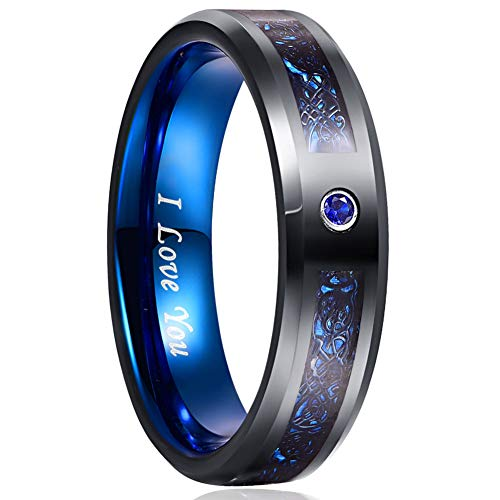 NUNCAD Classic 6mm Tungsten Carbide Ring for Men Women Black and Blue Wedding Ring CZ and Celtic Dragon Inlay Size 9