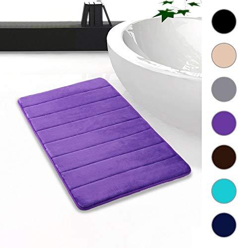 Homaxy Memory Foam Badezimmer Badteppich Saugfähige Rutschfester Badvorleger Waschbar Badematte - 50 x 80 cm, Lila
