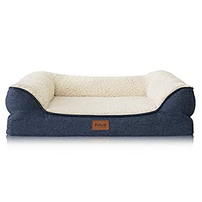 "Bedsure 28""/36""/42"" Orthopedic Pet Sofa Beds for Small, Medium, Large Dogs & Cats - Large Dog Beds - Memory Foam Couch Dog Bed with Removable Washable Cover - Bolster Dog Beds, Nonskid Bottom"