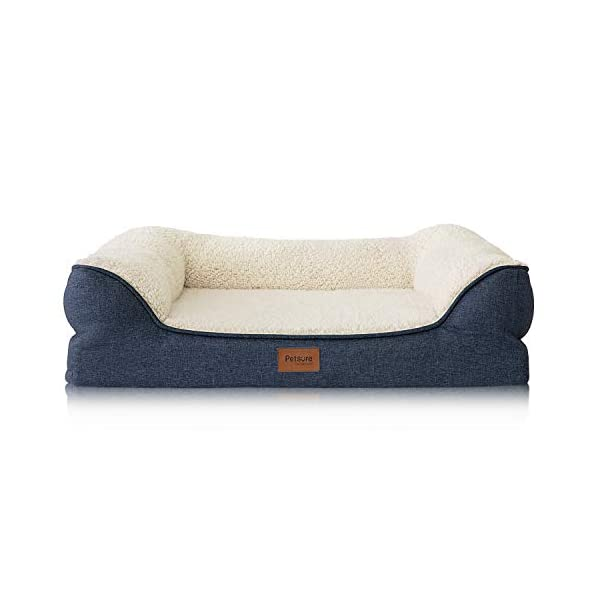 Bedsure Orthopedic Memory Foam Dog Bed – Dog Sofa with Removable Washable Cover & Waterproof Liner, Couch Dog Beds for Small, Medium, Large Pets up to 50/75/100 lbs
