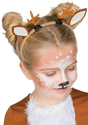 Rehkitz Haarreif mit Geweih und Ohren für Kinder Accessoire Karneval Tierkostüm Deer