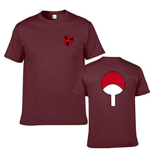 KMNL-Naruto Anime 3D Impresa Camiseta, Sharingan Akatsuki Uchiha Madara Casual Sweatshirts, Color sólido Sencillez Sudadera, Manga Corta, Unisexo-2_Metro