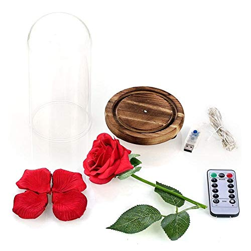 Bullpiano Eternal Flower Beauty Rose Last Forever in Glass Dome Red Flower Rose with Wood Base with 8 Flashing Modes Remote Control Rose lamp Gifts for Mom Birthday Valentine's Day Christmas Silk Flower Arrangements
