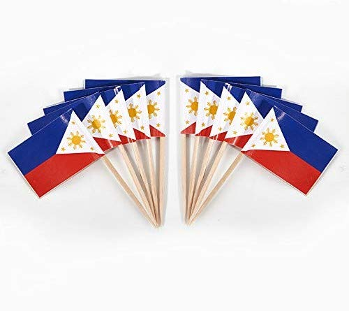JAVD CYPS 100 Pcs Philippines Flag Filipino Toothpick Flags, Small Mini Stick Cupcake Toppers Filipino Flags,Country Picks Party Decoration Celebration Cocktail Food Bar Cake Flags