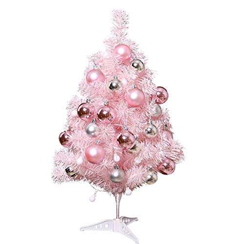 Qishi rosa árbol de Navidad decoración de escritorio mini árbol de Navidad embalaje árbol de Navidad
