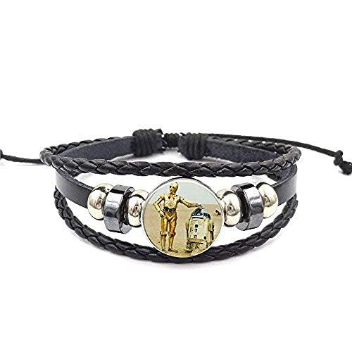 lianglimin Halskette Schmuck Mit Glas Cabochon Schwarz Leder Armband Armreif Für Frauen Kinder Vintage Roboter