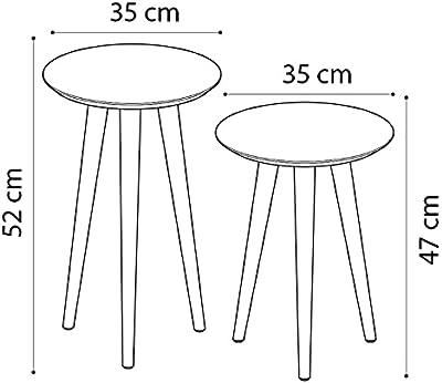 Conjunto Mesa Apoio e Lateral Maju - Off White/Freijó