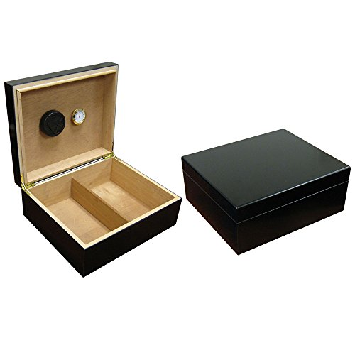 Prestige Import Group Chalet Desktop Cigar Humidor with Hygrometer and Humidifier - Stores up to 50 - Color: Black