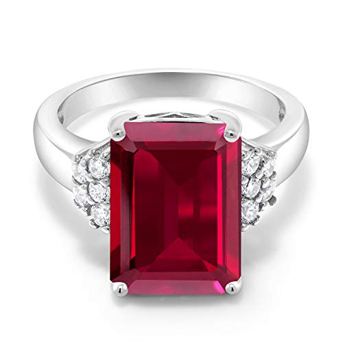 Gem Stone King 925 Sterling Silver Red Created Ruby Women's Engagement Ring (8.30 Cttw, Emerald Cut 14X10MM) (Size 6)