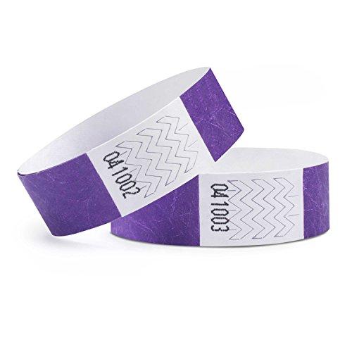 linie zwo®, Pack de 1.000 Pulseras de Seguridad Tyvek® 19 mm, Lila