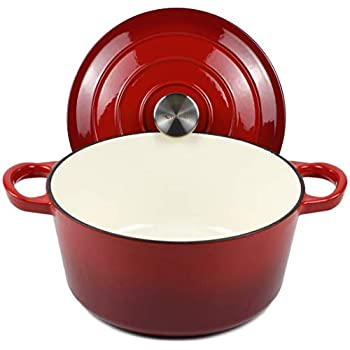 Dutch Oven Enameled Cast Iron Pot with Dual Handle and Cover Casserole Dish - Round Red 10.23   26 cm